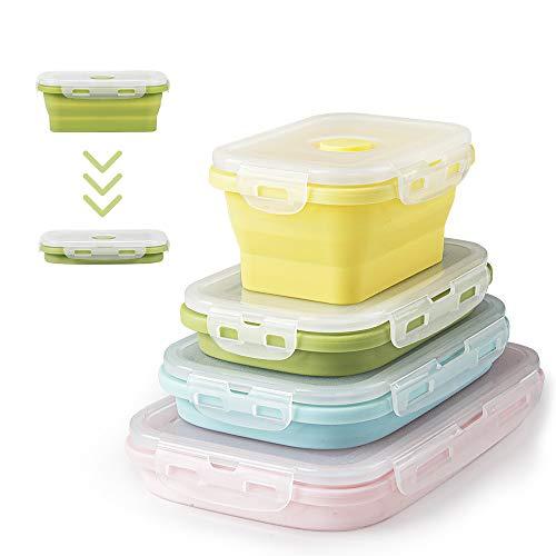 Faltbare Frischhalteboxen 4 PCS Faltbare Frischhaltedosen Brotdosen aus Silikon Faltbare Silikon Brotbox Silikon Frischhaltedosen Faltbare Silikon Brotbox Faltbare frischhaltedosen(B3- Farbe Mischen)