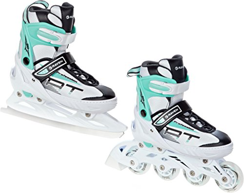RAVEN 2in1 Schlittschuhe Inline Skates Inliner Profession White/Mint verstellbar (35-39(23cm-25,5cm))