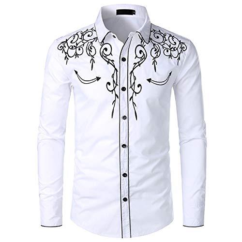 NOBRAND JINYAUN Stilvolles Western-Cowboy-Hemd für Herren, Stickerei, Slim Fit, leger, Langarm, Hemd, Hochzeit, Party Gr. XXL, weiß