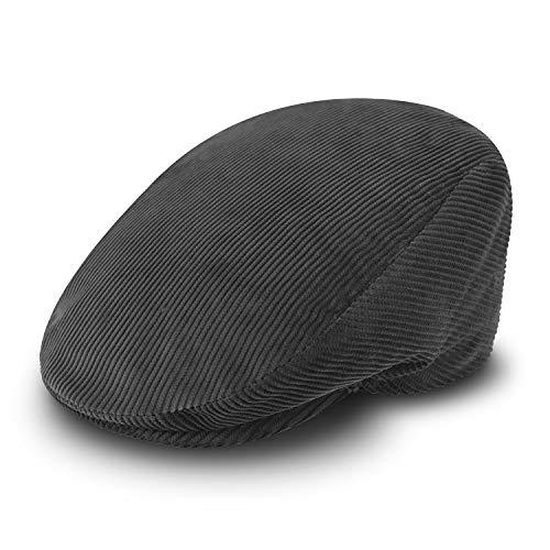 fiebig Cord Flatcap für Damen & Herren   Schiebermütze aus Baumwolle mit gestepptem Innenfutter   Flache Cordmütze Made in Italy (58-L, grau)