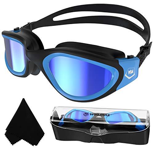 Polarisiert Schwimmbrille Erwachsene Jugendliche,Anit-Beschlag-UV-Schutz Wasserdicht klare Sicht einfach einzustellen mit weichen Nasenstegen für Herren Damen