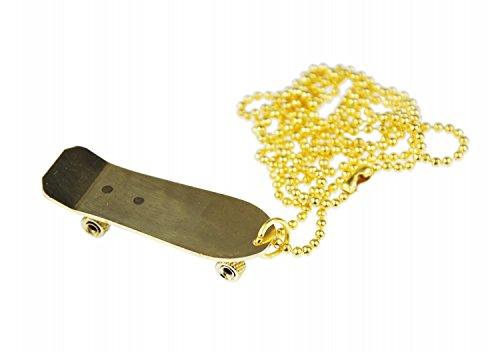 Miniblings Skateboard Kette Halskette 80cm Skater Skaterkette Skaten vergoldet - Handmade Modeschmuck - Kugelkette vergoldet