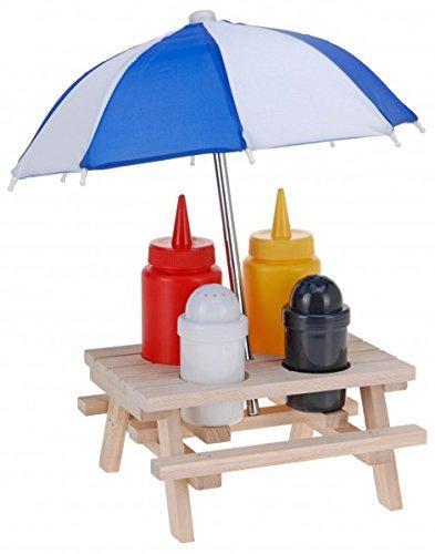 6-tlg. Picknicktisch Menage SET - Senf & Ketchup Ständer und Salzstreuer & Pfefferstreuer - mit Sonnenschirm - Grillzubehör - Salz Pfeffer Streuer - Grillparty