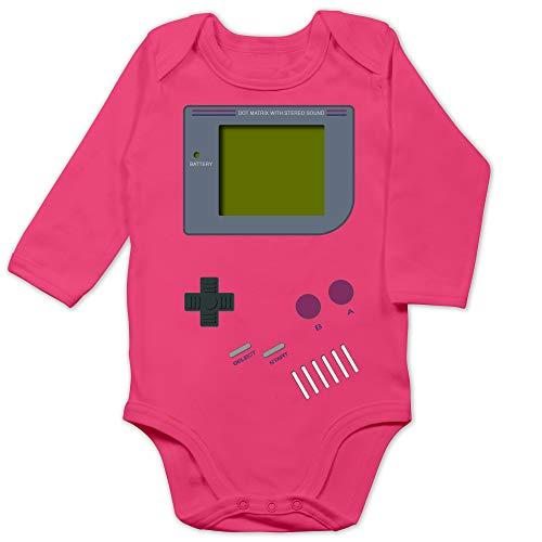 Shirtracer Baby Strampler Mädchen & Junge - Gameboy - 3/6 Monate - Fuchsia - Baby Strampler Langarm - BZ30 - Baby Body Langarm