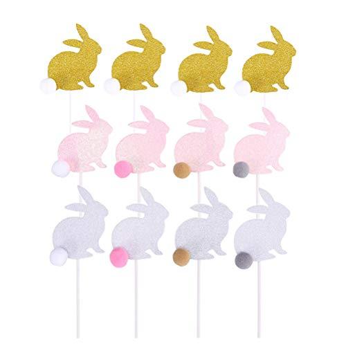 BESTOYARD Glitter Bunny Cake Topper Niedlichen Kaninchen Cupcake Toppers mit Hairball Cake Obst Dessert Zahnstocher für Geburtstag Hochzeit Baby Shower Easter Party Supplies 12 PCS