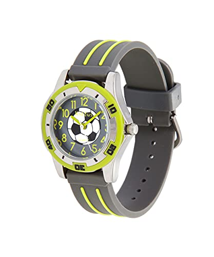 KIDDUS Qualitätsuhr für Mädchen. Analoge Armbanduhr mit Zeitlernübungen. Gut lesbar, um ganz leicht zu Lernen, die Uhr zu lesen. Fußball. Grün