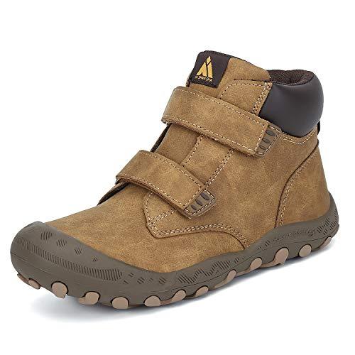 Mishansha Kinder Wanderschuhe Bequeme Sneaker Atmungsaktive Sport Outdoorschuhe Strapazierfähige Laufsohle Braun Gr.30