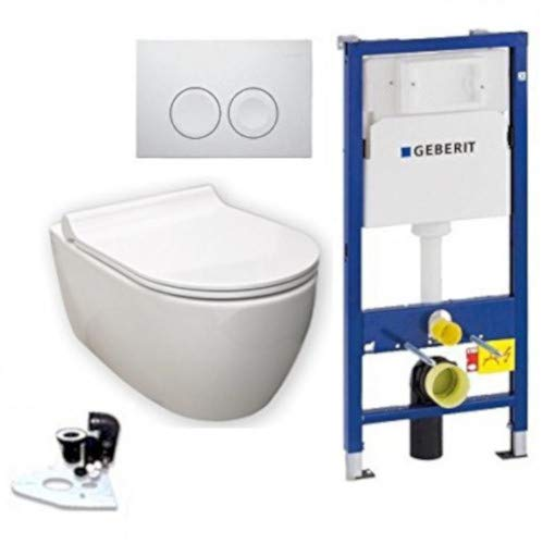 Geberit Duofix Vorwandelement UP 100 + Keramag iCon WC mit Beschichtung, Spülrandlos + Absenkautomatik + Delta 21 Drückerplatte + WC Deckel