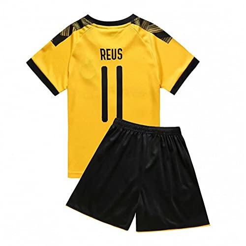 XH Marco Reus # 11 Trikot-Set Kinder Fußball atmungsaktive T-Shirt Shorts, 16-28 Code (Color : Yellow, Size : Children-18)
