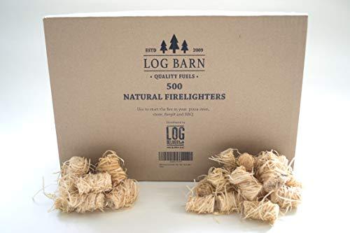500 natürliche Öko-Feueranzünder - 500 Holzwolle-Flammenstarter, Feuerstarter pro Karton. Ideal zum Anzünden von Kaminen, Öfen, Grills, Pizzaöfen, Lagerfeuern und Rauchern