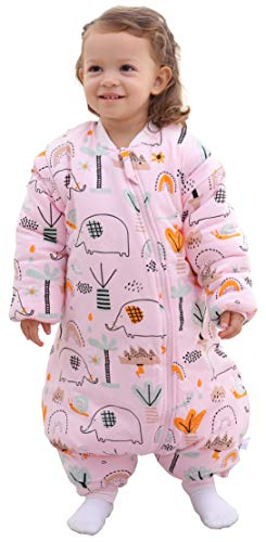 Chilsuessy Babyschlafsack für Neugeborene Winter Kinder Schlafsack mit Füßen Baby Schlafstrampler Abnehmbare Ärmel Ganzjahresschlafsack für Babys, Rosa Elefant/3.5 Tog, 85cm/Baby Höhe 90-100cm