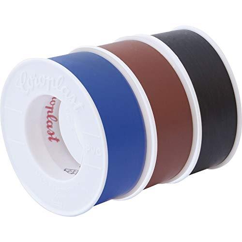 Coroplast 40630 Elektriker PVC-Isolierband-Set, je Klebeband, Braun-Schwarz-Blau,3 Stück, 4,5m