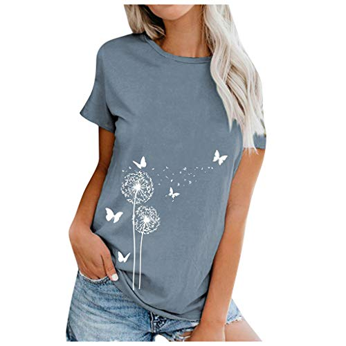 CHAOEN Damen T-Shirt Sommer Kurzarm Oberteile Pusteblume Drucken Tunika Shirt Tier Motiv Kurz Tee Mode Rundhals Tshirt Lange Bluse Top