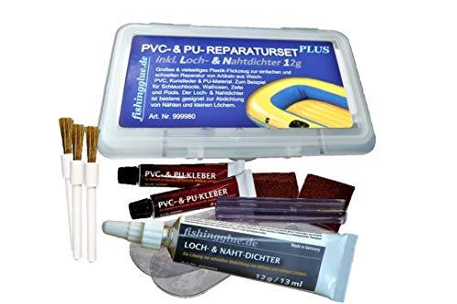 fishingglue.de PVC- & PU- REPARTURSET Plus, Flickzeug für Schlauchboot Zelt Pool Gewebe Planen Markise Isomatte Luftmatratze aus Vinyl, PVC, Polyurethan