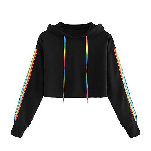 YEBIRAL Damen Sweatshirt, Mädchen Bauchfrei Pullover Streifen Rainbow Pulli Oberteile Mode Sport Crop Tops Casual Kurz Bluse Hoodie Kapuzenpullover(S,Schwarz)