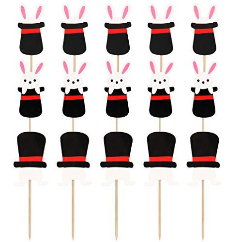 PRETYZOOM 30 Stück Cartoon Hasen Kuchen Topper Ostern Party Cupcake Topper Babyparty Kaninchen Kuchen Eingelegte Karten Kreative Geburtstagstorte Pick Obst Zahnstocher für Ostern