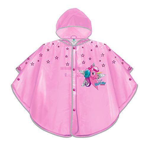PERLETTI Einhorn Regenponcho Mädchen 3 4 5 6 Jahre - Pink Unicorn Regenjacke für Kinder mit Reflektorstreifen - Umhang Reflektierend Wasserdicht Regen Mantel mit Kapuze - Cool Kids (Pink, 3-6 Jahre)