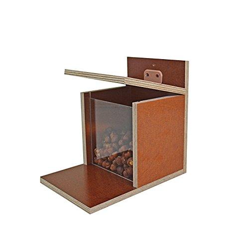 Elmato 10971 Nußautomat Futterhaus Futterstation für Eichhörnchen, Wetterfest mit Plexiglasscheibe