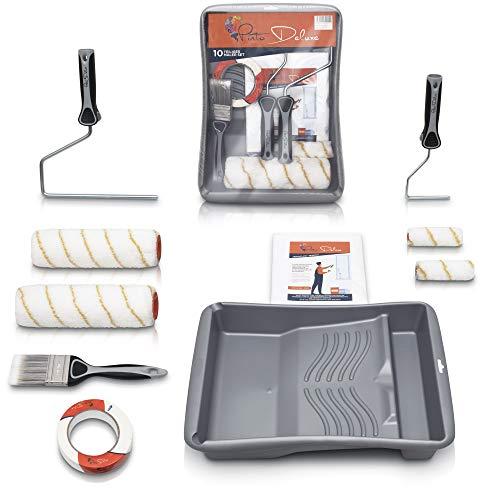 Pinto Deluxe ® Farbroller- Set Malerpinsel - Komplett Streichset mit XXL Farbwanne, Abdeckfolie, Farbroller, Pinsel, Kreppband