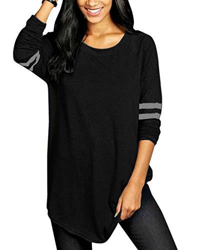 VONDA Langarmshirt Damen Basic Shirt Baseball Casual Locker Longshirt Oversize Oberteile Farbblock Pullover Tunika 1A-Schwarz 5XL
