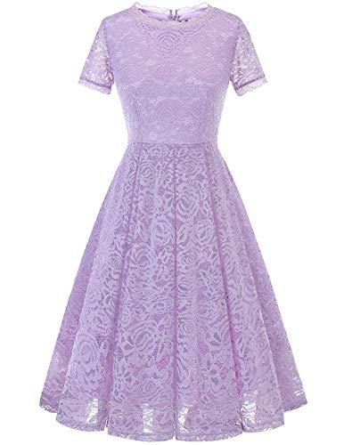 DRESSTELLS Damen elegant Spitzen Brautkleider hochzeitskleider Geburtstagskleid Swing Retro Partykleid Lavender S