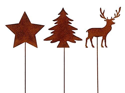 ETC weihnachtlicher Deko-Stecker Garten-Stecker 3 Motive Stern-Hirsch-Tanne Sortiert Preis für 3-er Set rostoptik