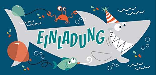 CardWheels 12 Einladungskarten Hai + 13 Aufkleber Gratis - Jungen Mädchen | Party Mitgebsel Karten Geburtstag Shark Fisch
