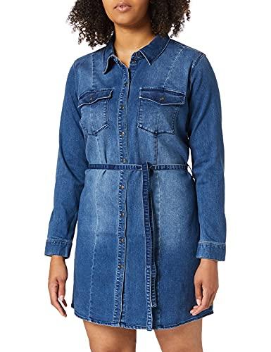 ONLY Carmakoma Damen CARNETTE Life LS Belt DNM Tunic Dress Kleid, Medium Blue Denim, 48 Größen