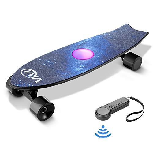Vivi H2E Elektro Skateboard mit eingebautem bunten Licht, Geschenkpaket, Elektro Longboard mit Fernbedienung, 350W bürstenloser Motor, bis zu 30KM/H für Kinder, Jugendliche, Erwachsene