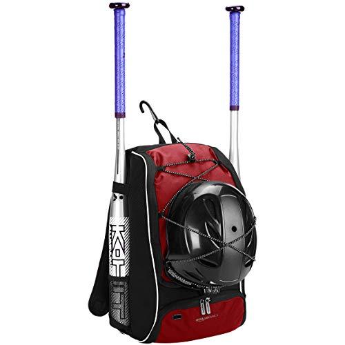 Amazon Basics - Rucksack für Baseball-Ausrüstung für Jugendliche, Rot