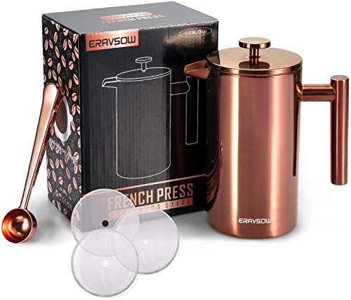 ERAVSOW Edelstahl French Press,Kaffeekanne,Pressstempelkanne, doppelwandig, isoliert, Edelstahl, mit Messlöffel, 1000 ml