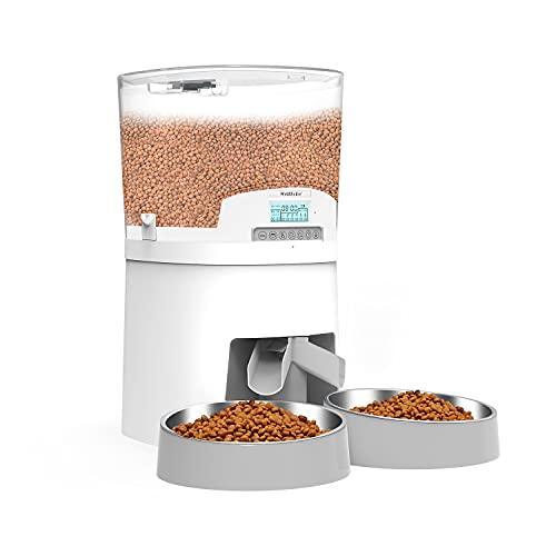WellToBe 7L Futterautomat für Katze und Hund Haustiere, Automatischer Futterspender für Katzen und Hunde, mit Timer programmierbar, Sprachaufzeichnung und Portionskontrolle (White)