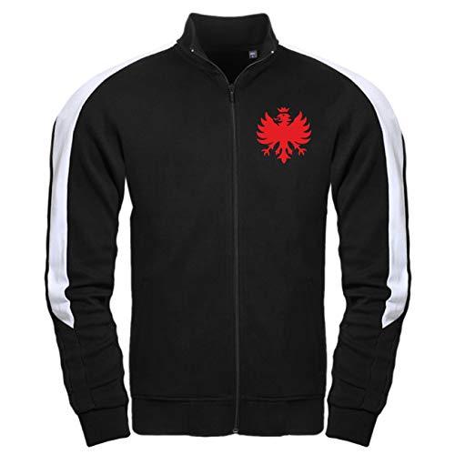Spaß kostet Männer und Herren Trainingsjacke mit Streifen Frankfurt Redlight (mit Rückendruck) Größe M - 3XL