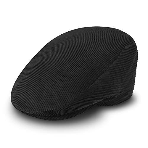 fiebig Cord Flatcap für Damen & Herren   Schiebermütze aus Baumwolle mit gestepptem Innenfutter   Flache Cordmütze Made in Italy (57-M, schwarz)