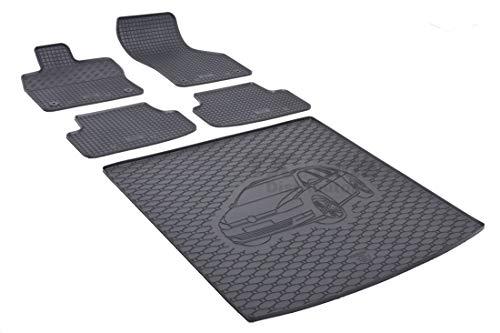 Rigum Passende Gummimatten und Kofferraumwanne Set geeignet für VW Golf VII Variant ab 2013 + Gurtschoner