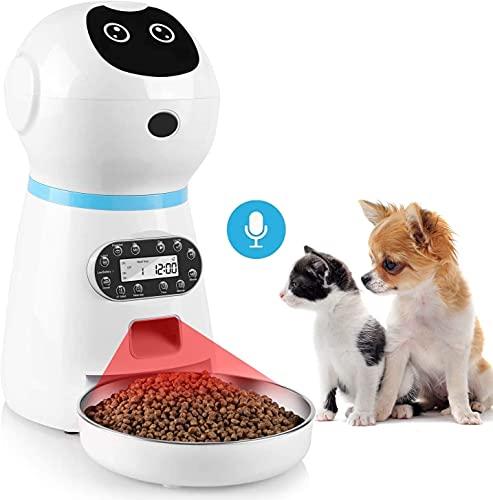 Automatischer Futterspender Futterautomat Katzen 3,5 L Feeder mit 10s Sprachaufnahme und Timer, bis zu 4 Mahlzeiten pro Tag, für Hund und Katze