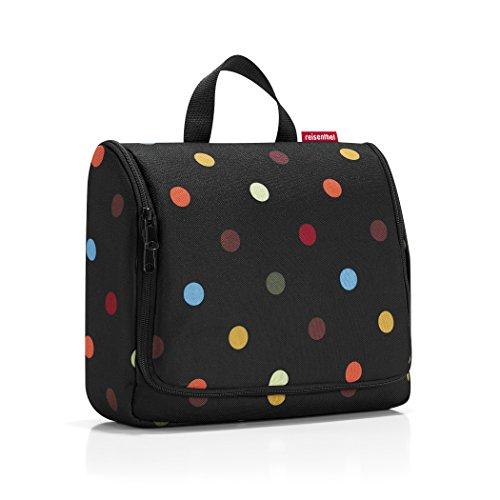 reisenthel toiletbag XL WO7009 dots – Kulturbeutel mit 4l Volumen – Aufklappbar mit Haken zum Aufhängen und Spiegel – B 28 x H 25 x T 10 cm