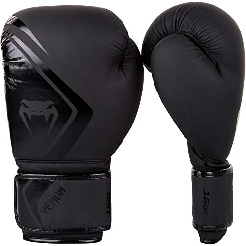 Venum Contender 2.0 Boxhandschuhe, Schwarz/Schwarz, 14 oz