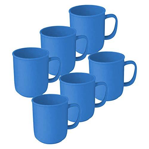6 Tassen mit Henkel à 300 ml Blau, wiederverwendbar, aus Kunststoff, Kaffeetasse Teetasse Becher Henkelbecher Henkeltasse