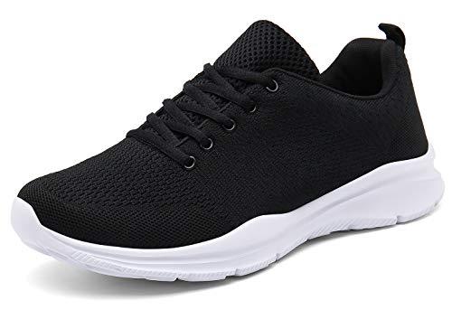 DAFENP Sportschuhe Laufschuhe Atmungsaktiv Leichte Turnschuhe Gym Fitness Sneaker für Herren Damen (39 EU, A Schwarz)