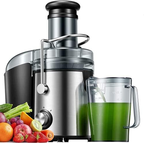 Entsafter, 800W Entsafter für Obst und Gemüse aus Edelstahl große 75 MM Einfüllöffnung inkl Reinigungsbürste und Saftbehälter, Anti-Tropf-Funktion und Überhitzungsschutz, BPA-frei