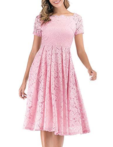 DRESSTELLS Damen Brautkleid Standesamt Spitzenkleid Kurzarm Cocktailkleider Party Ballkleid Pink 3XL