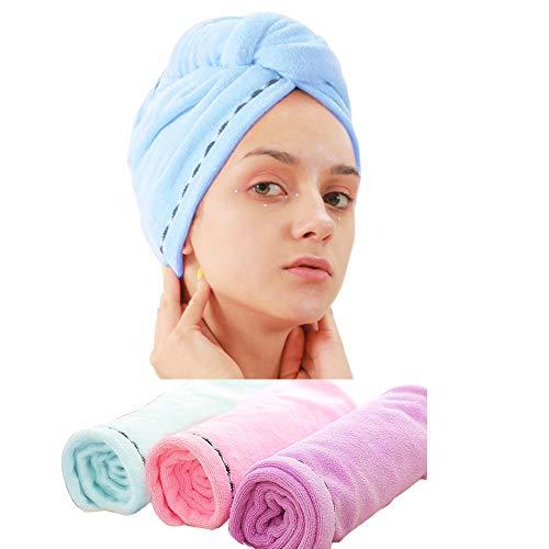 Laicky 3 Pack Mikrofaser Haar Handtuch Wrap Super Saugfähig Twist Turban Schnell trockenes Haar Kappen mit Tasten Bad Schlaufe Befestigen Salon trockenes Haar Hat Pink Blau Lila