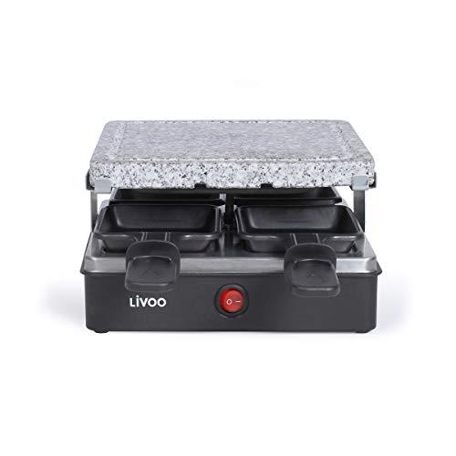 LIVOO Raclette-Gerät für 4 Personen, Schwarz/Stein