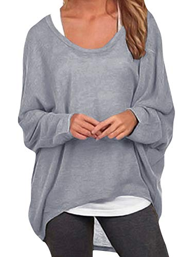ZANZEA Damen Lose Asymmetrisch Jumper Sweatshirt Pullover Bluse Oberteile Oversize Tops Grau EU 48/Etikettgröße 2XL
