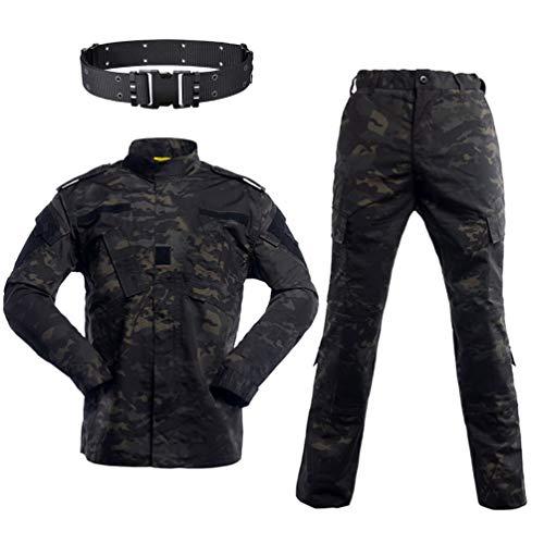 WISEONUS Militär BDU Uniform Armee Jacken Combat Shirt & Hosen Herren Taktisch Airsoft Paintball Camo Anzug mit Gürtel für Jagd Schießen Kriegsspiel