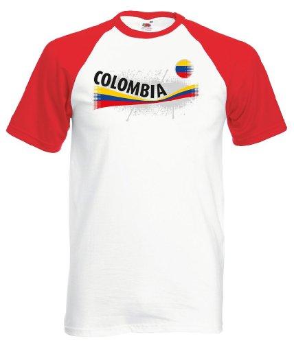 Fruit of the Loom Kolumbien Herren T-Shirt Columbia Vintage Baseball Trikot|wr-M