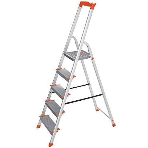 SONGMICS Leiter 5 Stufen, Aluleiter, 12 cm breite Stufen, Stehleiter, Werkzeugschale, rutschfest, bis 150 kg belastbar, TÜV Rheinland GS-Zertifikat, erfüllt EN131, grau-orange GLT005WT01