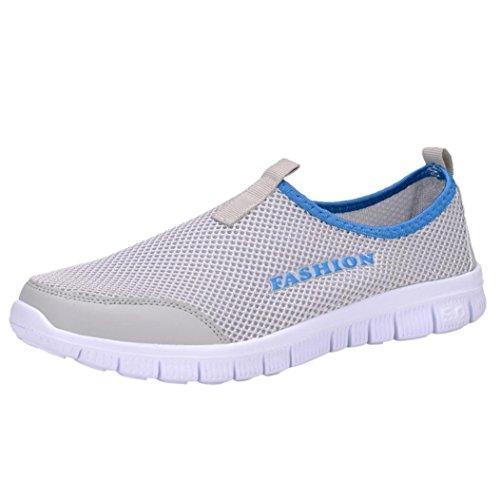 Zarupeng Herren Licht Turnschuhe Atmungsaktive Mesh Freizeitschuhe Walking Outdoor Sportschuhe Flachen rutschfest Sneaker Low-Cut (42 EU, Grau)