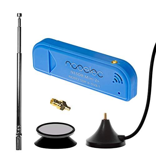NESDR Mini 2+ 0,5PPM TCXO RTL-SDR- und ADS-B-USB-Empfängerset mit Antenne, Saughalterung und Weiblichem SMA-Adapter. RTL2832U & R820T2 Tuner. Kostengünstiges Software Defined Radio